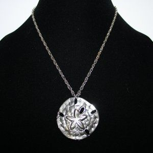 Beautiful silver sand dollar necklace 24""